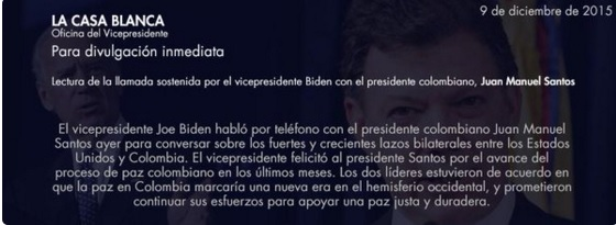 EEUU reafirma apoyo al proceso de paz en Colombia